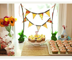 bunting, dessert, and wedding image
