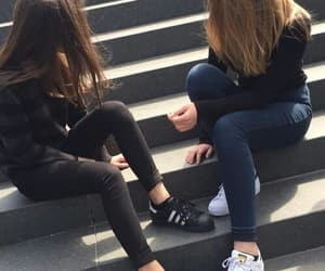 girls, friends, and adidas image