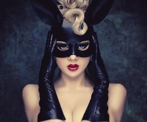 blond hair, mask, and bunny mask image