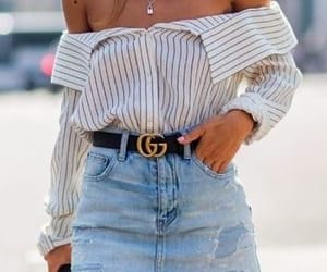 blouse, gucci belt, and jeans image
