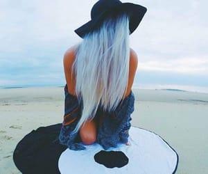beach, hair, and love image