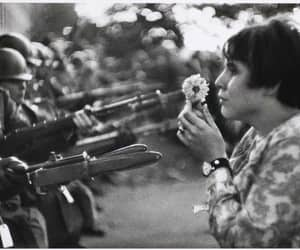 peace, flowers, and war image