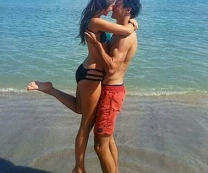 beach day, couples, and hold me image