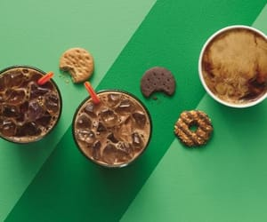 coffee, girl scout cookies, and dunkin donuts image