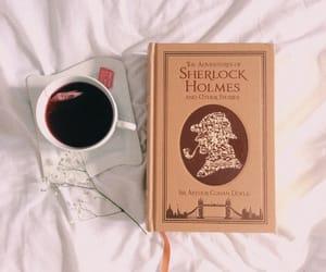 book, sherlock, and coffee image