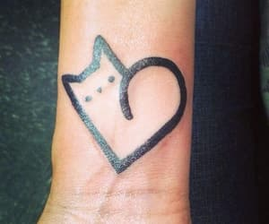 cat, heart, and tattoo image