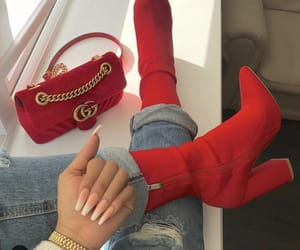 red, nails, and boots image
