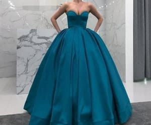 prom dress, strapless dress, and ball gown dress image