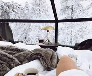 bed, snow, and winter image