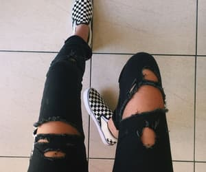 black, checkerboard, and jeans image