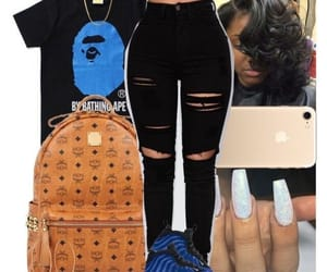 black and blue, clothes, and ripped jeans image