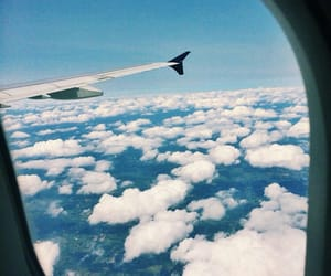 clouds, Flying, and plane image