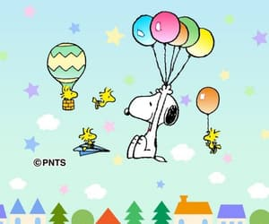 balloons, peanuts, and beagle image