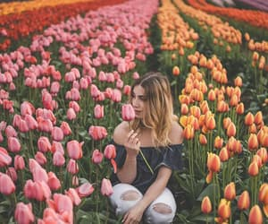 color, flowers, and girl image