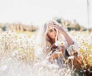 flowers, sun, and blonde image
