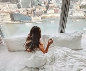 girl, bed, and city image