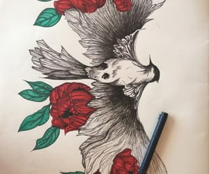 bird, drawing, and flores image