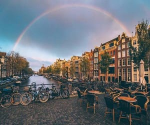 amsterdam, city, and rainbow image