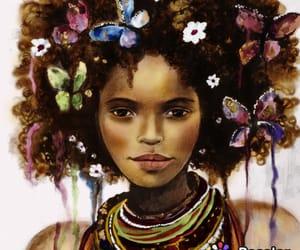 art, butterflies, and woman image