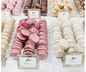food, pink, and ‎macarons image