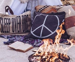 beach, fire, and pillow image