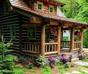 architecture, cozy, and log home image