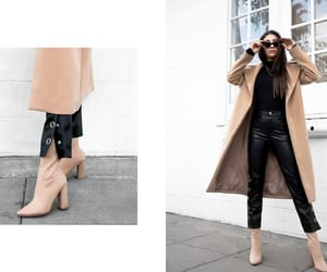 monochrome, leatherpants, and camelcoat image