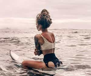 girl, summer, and surfing image
