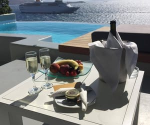 breakfast, ship, and champagne image
