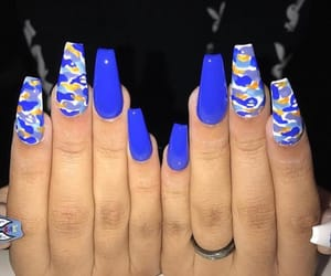 nails, blue, and camouflage image