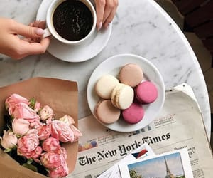 coffee, flower, and macaroons image
