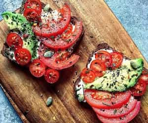 avocado, food, and tomatoes image