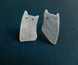 art jewelry, cats, and earrings image