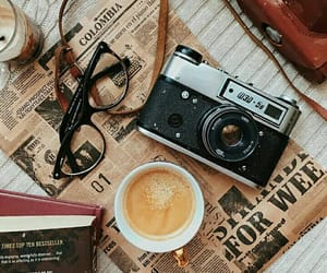 camera, coffee, and glasses image