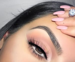 brown eyes, makeup, and nails image