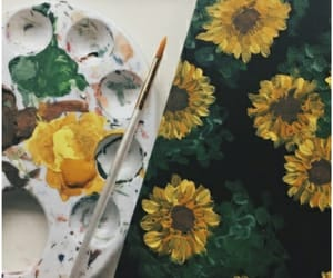 flowers, art, and yellow image