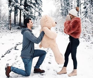 couple, winters, and love image