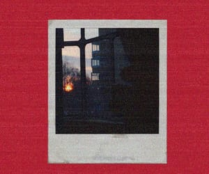 polaroid, red, and sunset image