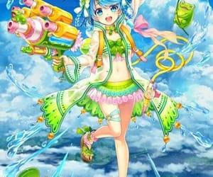 anime, girl, and green image