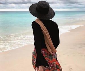 beach, hijâbi, and ocean image