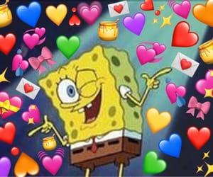 love, spongebob, and hearts image