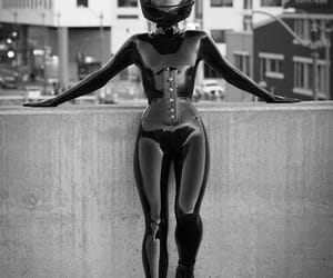 cat, gothic, and leather image