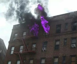 fire, purple, and grunge image