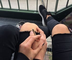 black, cigarettes, and couple image