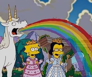 unicorn, rainbow, and simpsons image