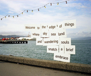 sea, sky, and text image