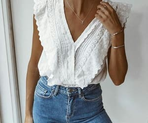 blouse, jewelry, and fashion image