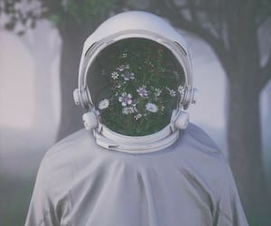 flowers, astronaut, and art image