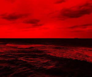 aesthetic, red, and sky image