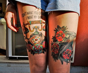 tattoo, photography, and flowers image